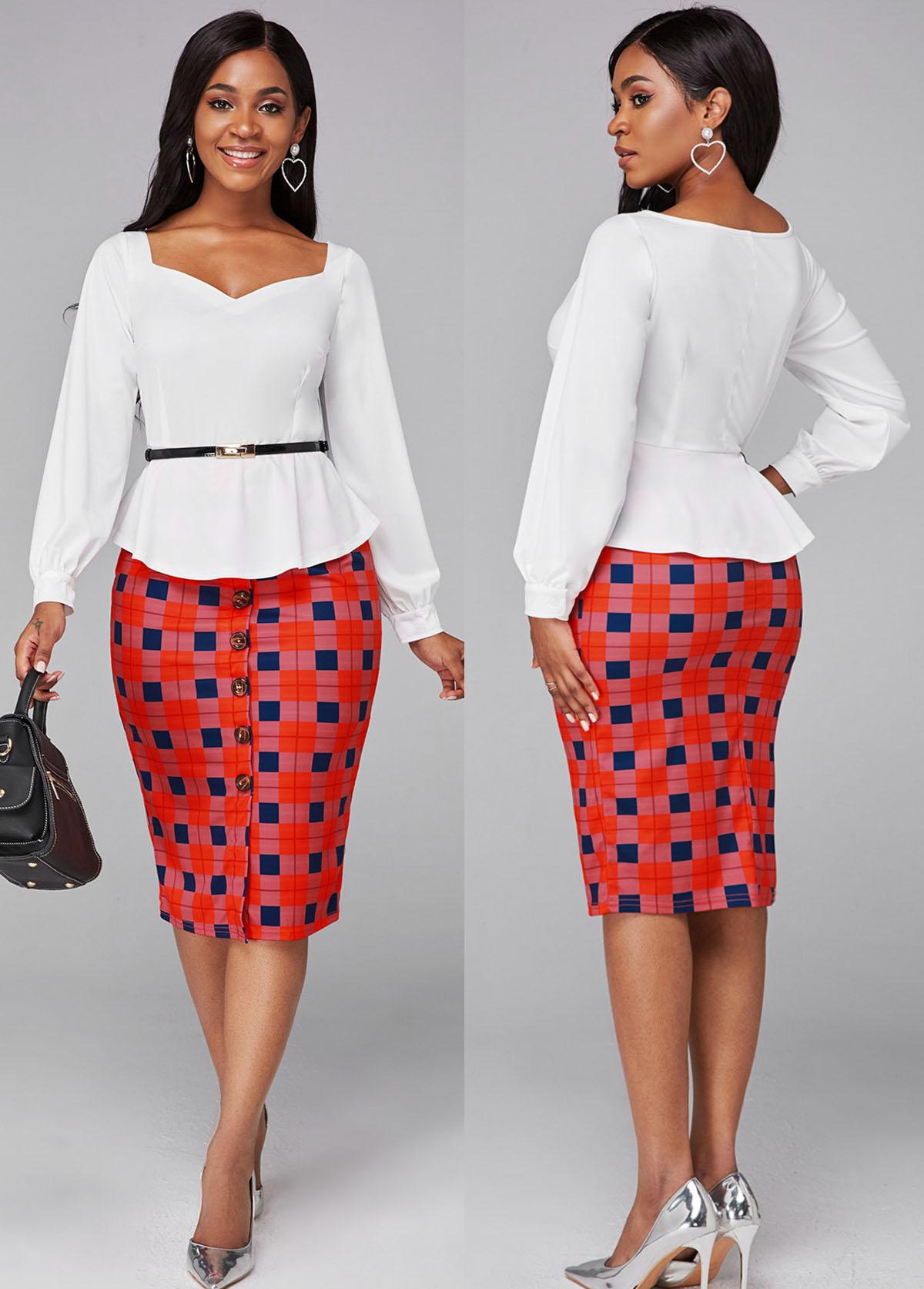 ROTITA Long Sleeve Plaid Print Faux Two Piece Dress