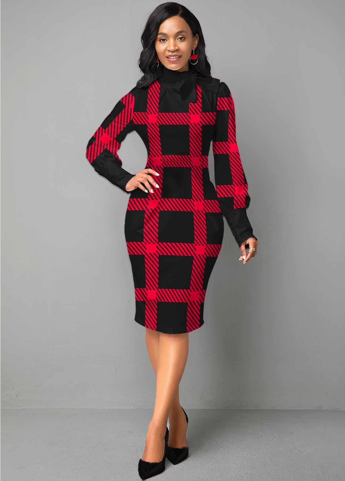 ROTITA Bowknot Long Sleeve Plaid Sheath Dress