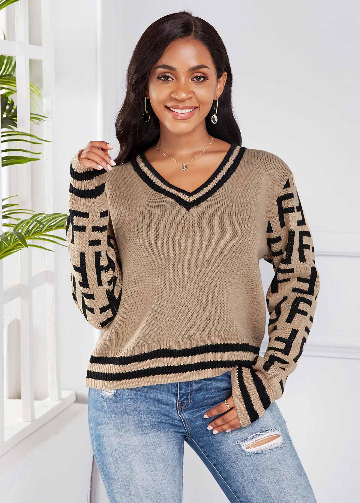 ROTITA V Neck Long Sleeve Striped Sweater