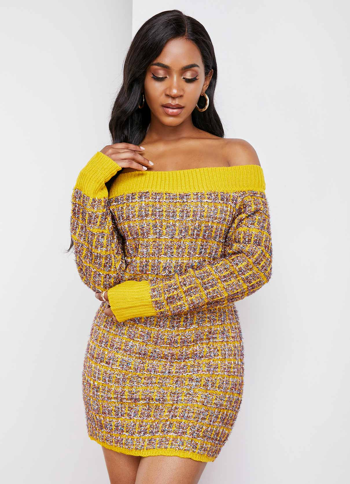 ROTITA Contrast Long Sleeve Off Shoulder Sweater Dress