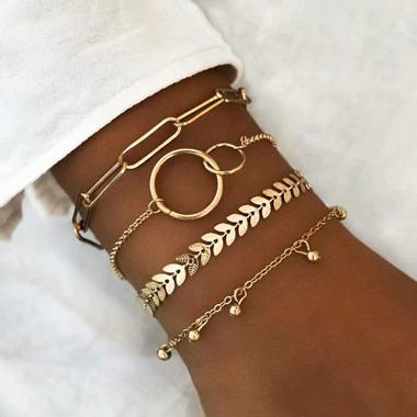 Gold Metal Chain Layered Bracelet Set