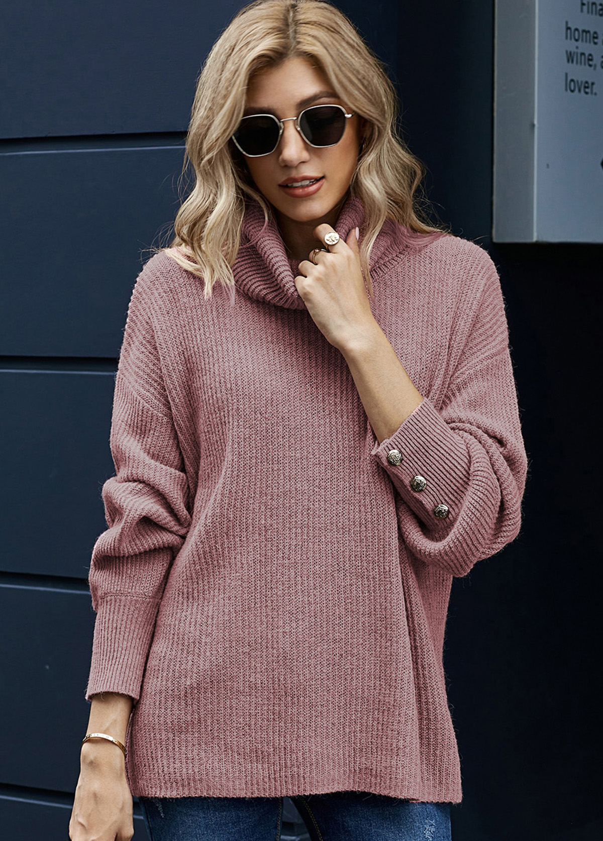 Long Sleeve Turndown Collar Button Sweater