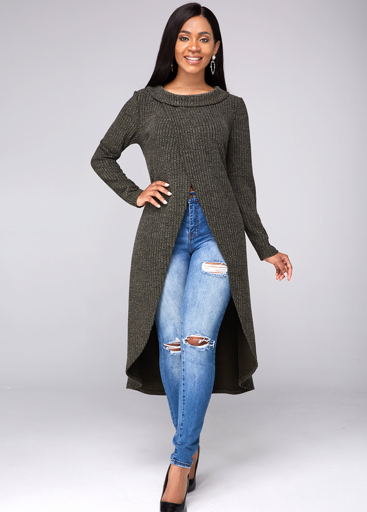 ROTITA Crossover Hem Long Sleeve High Slit Sweater