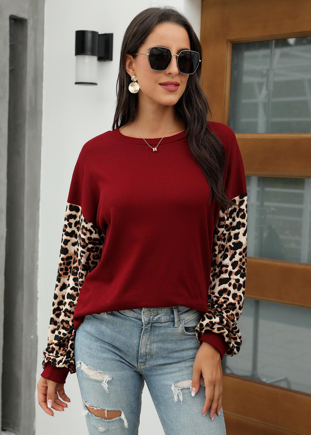Leopard Long Sleeve Round Neck Sweatshirt