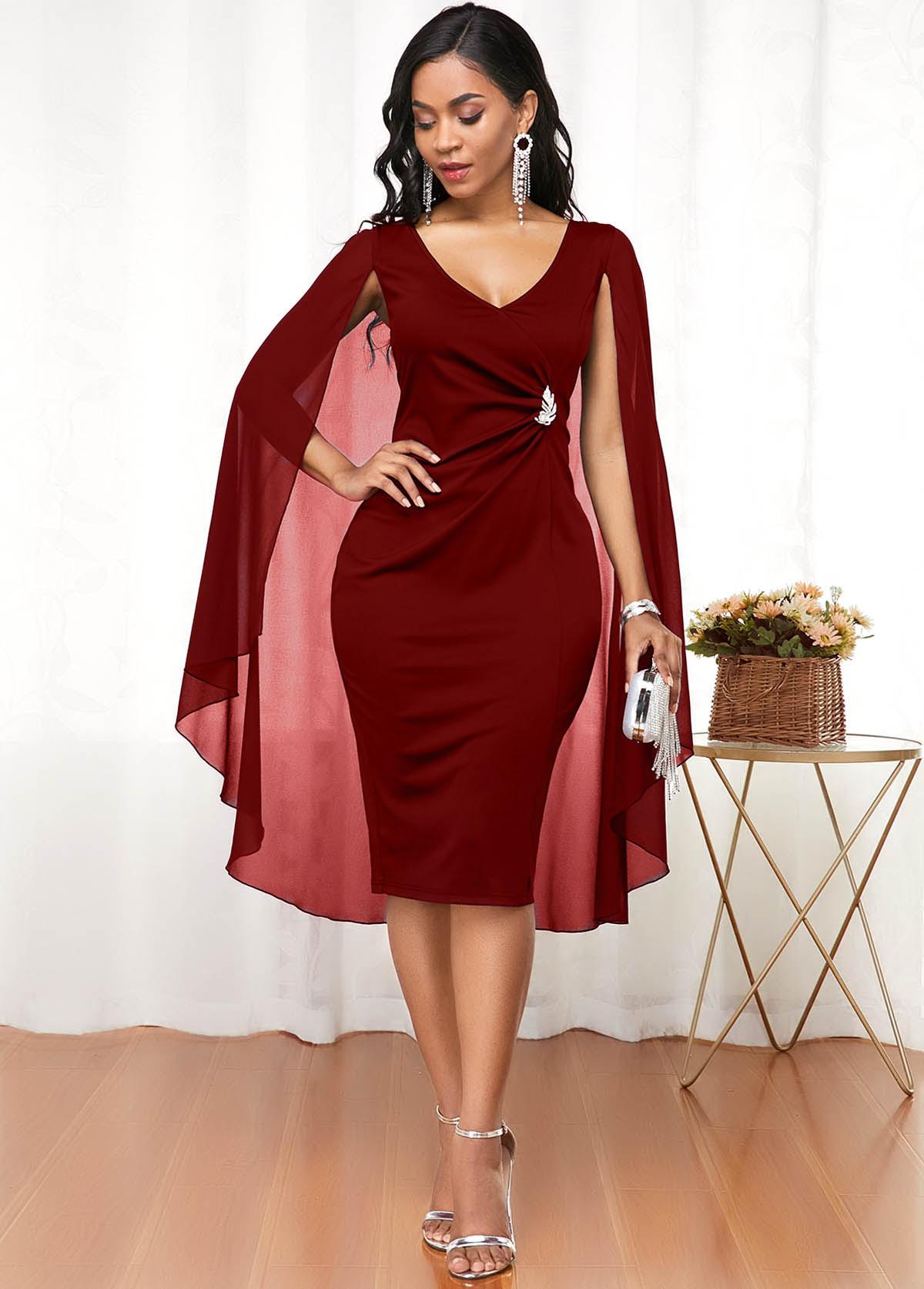 ROTITA Wine Red V Neck Cape Shoulder Dress