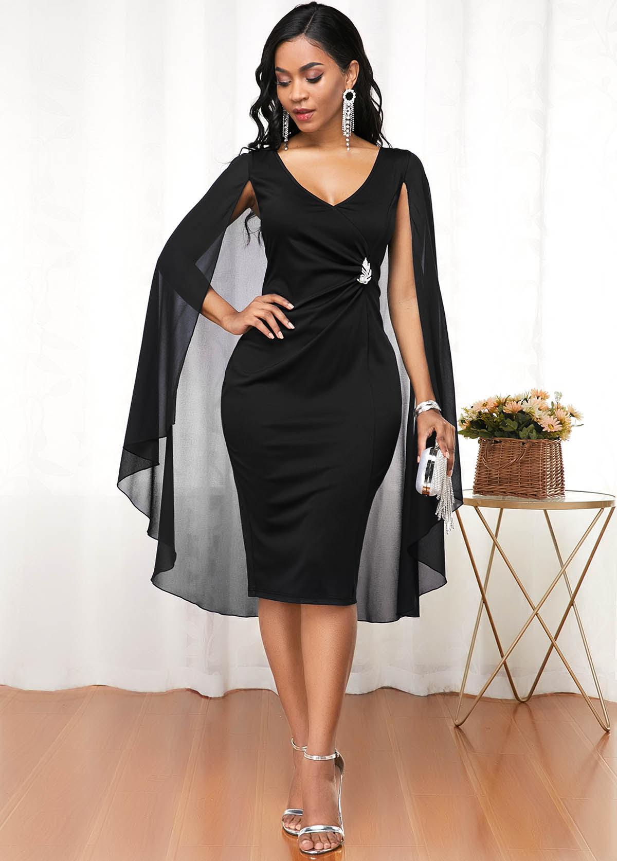ROTITA Black V Neck Cape Shoulder Dress