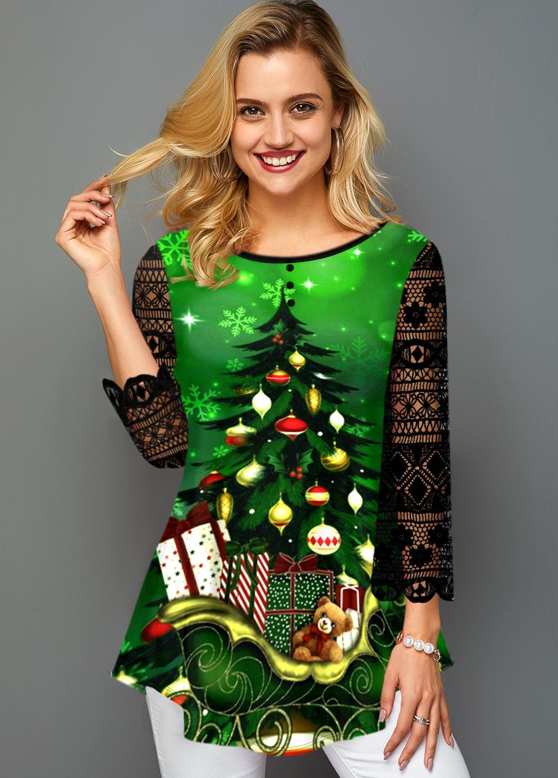 ROTITA Asymmetric Hem Lace Panel Christmas Print T Shirt