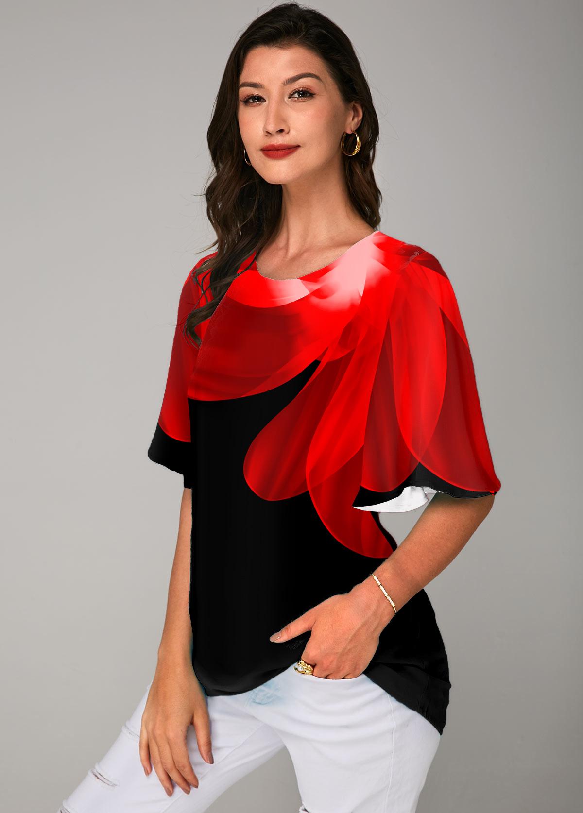 ROTITA Round Neck Half Sleeve Printed T Shirt