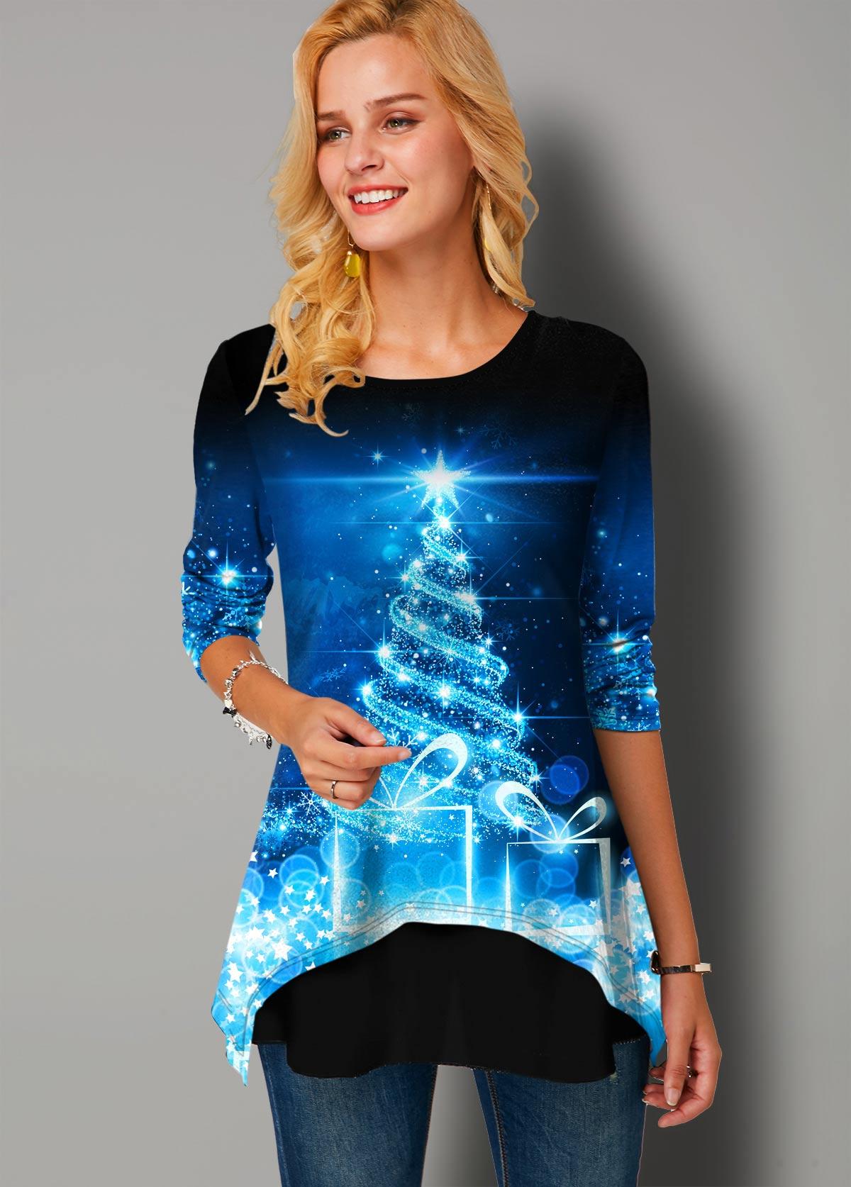 ROTITA Round Neck Christmas Print Long Sleeve T Shirt