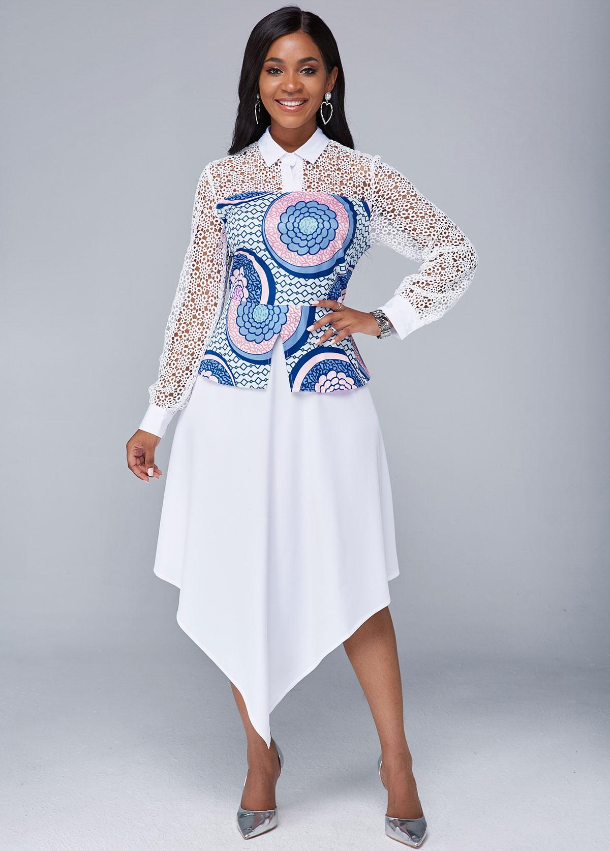 ROTITA Asymmetric Hem Lace Panel Tribal Print Dress