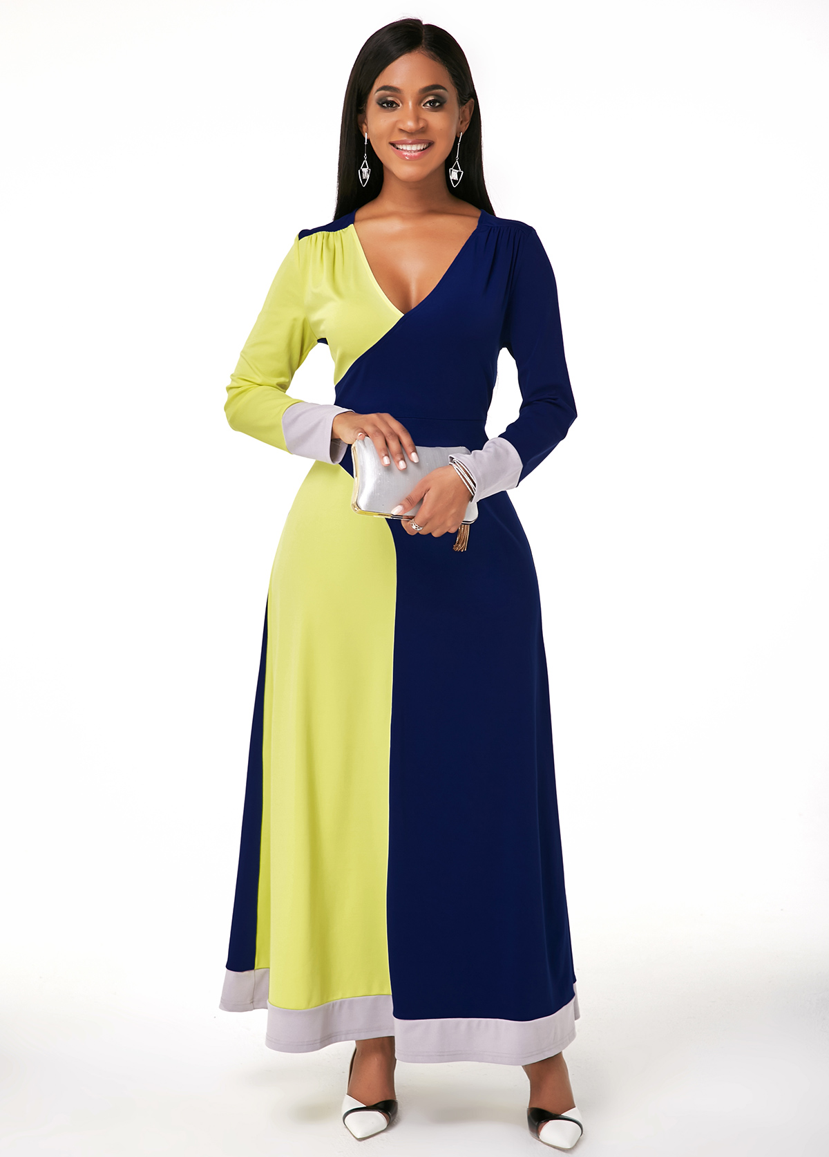 ROTITA V Neck Color Block Long Sleeve Maxi Dress