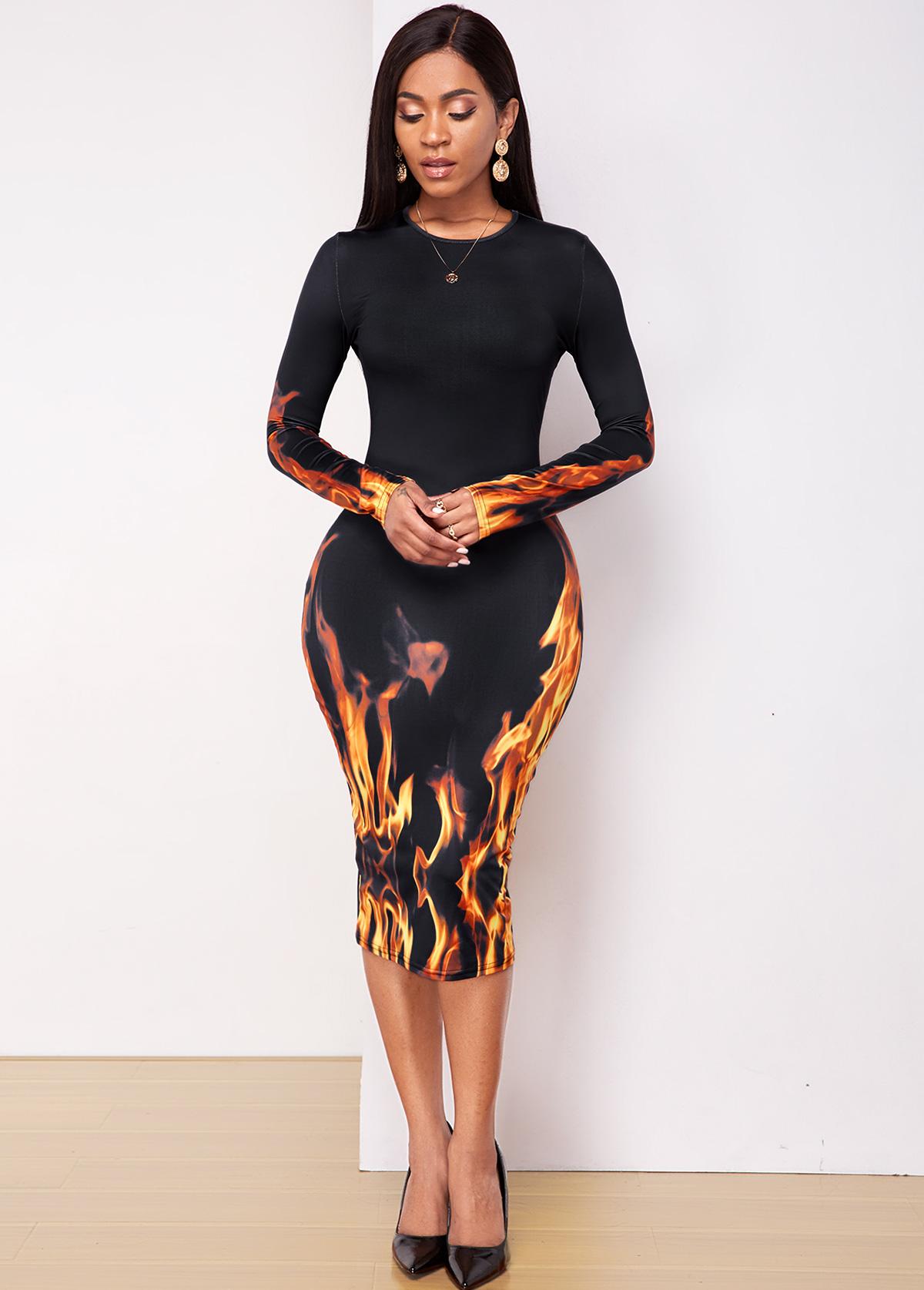 ROTITA Long Sleeve Flame print Round Neck Dress