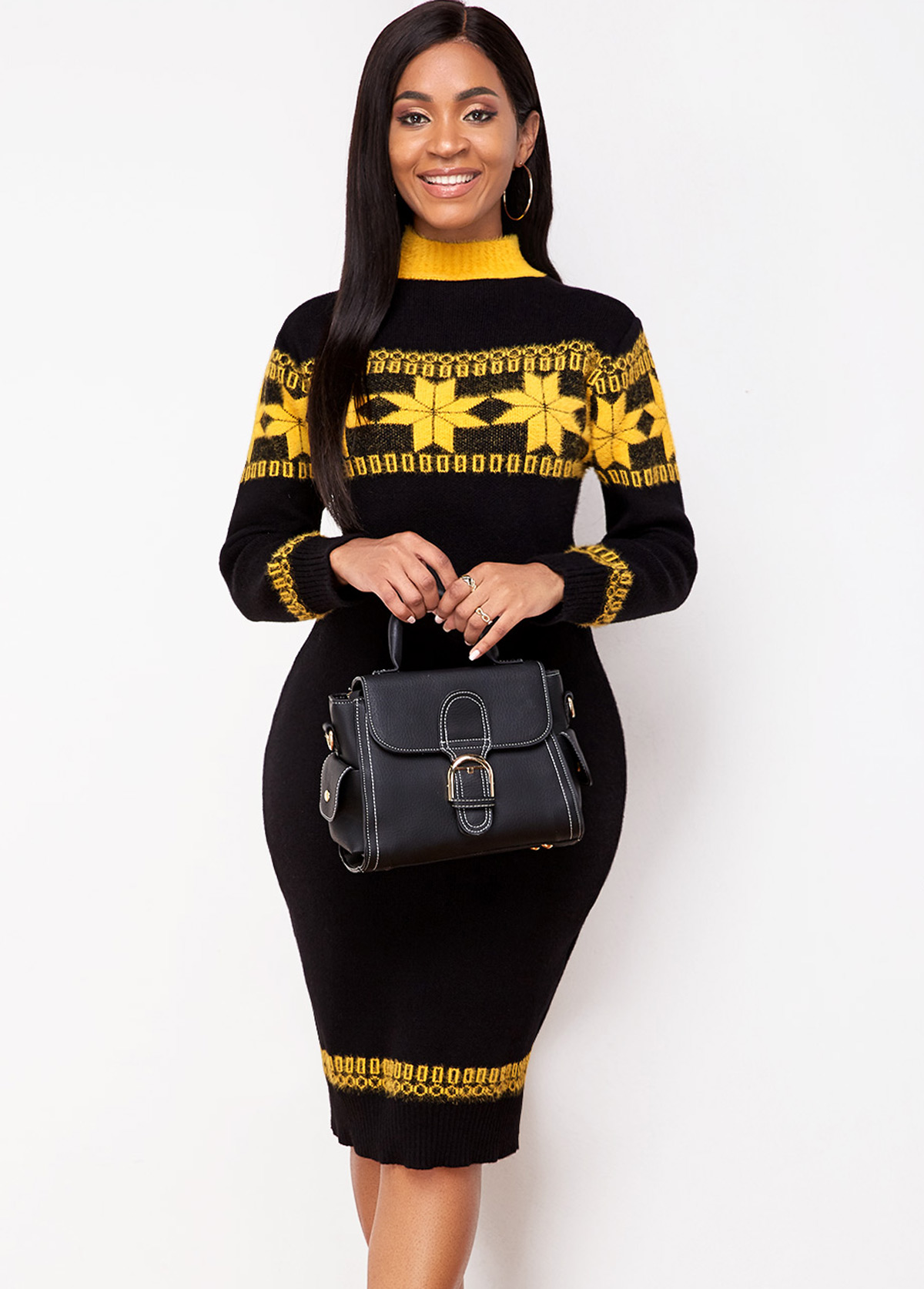 ROTITA Snowflake Pattern Long Sleeve Sweater Dress