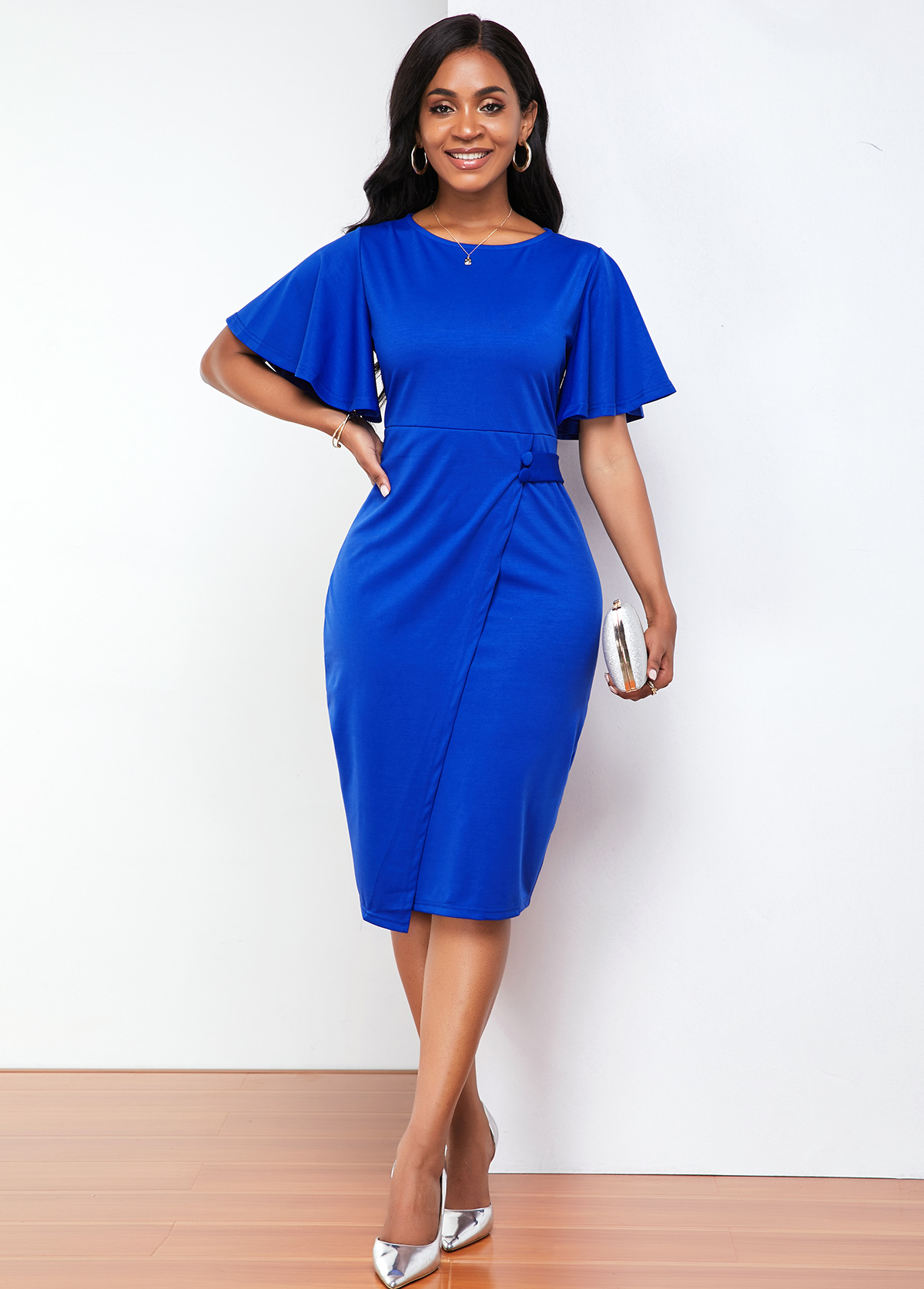 Ruffle Sleeve Back Slit Round Neck Dress