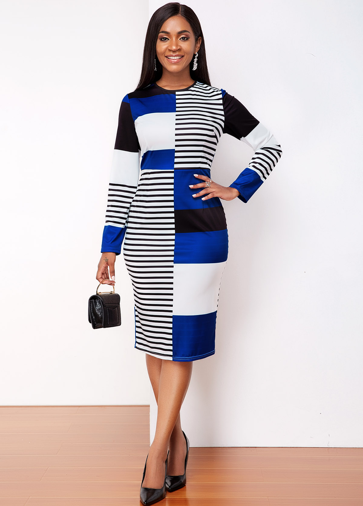 ROTITA Round Neck Long Sleeve Striped Dress