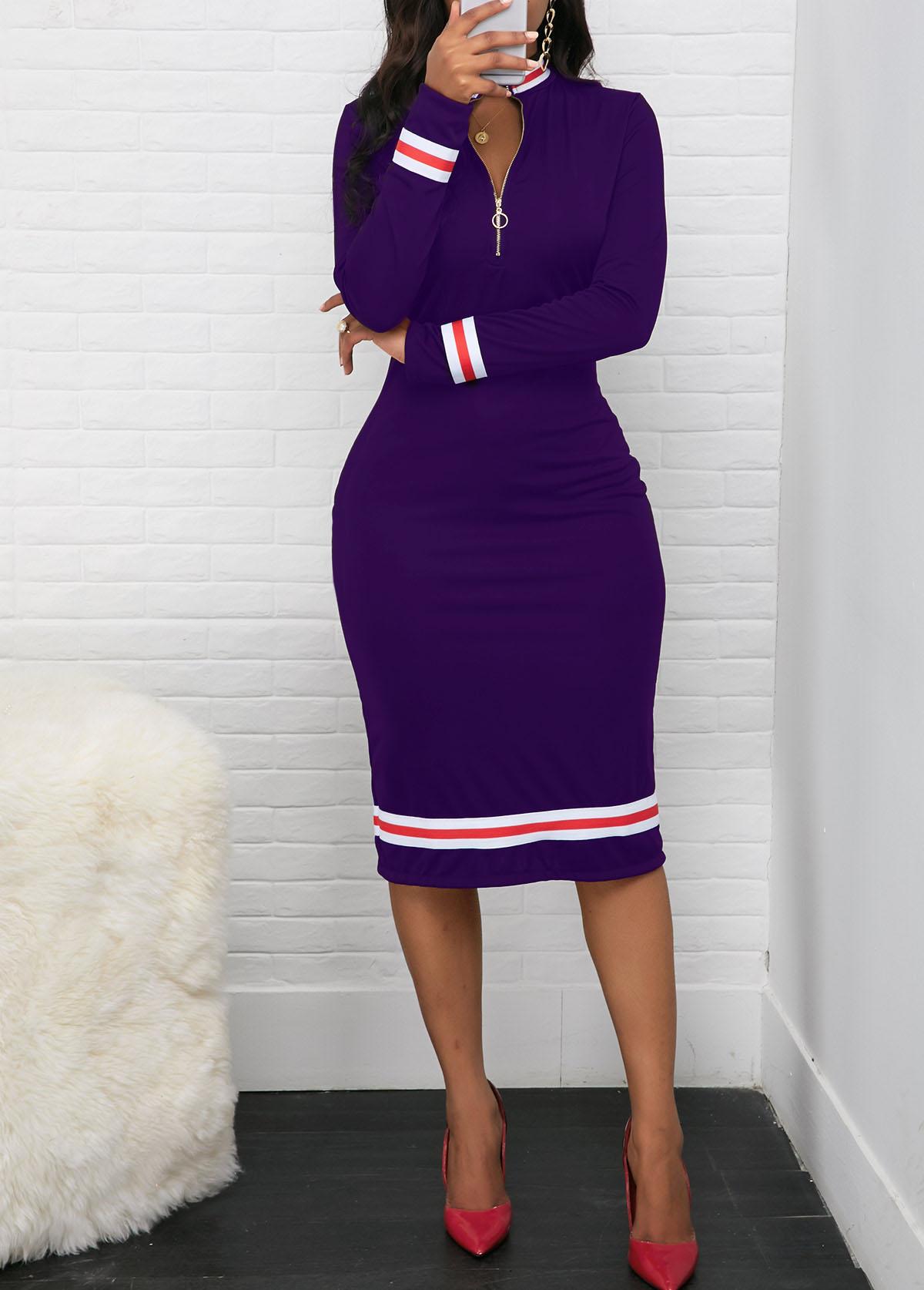 ROTITA Long Sleeve Quarter Zip Contrast Striped Dress