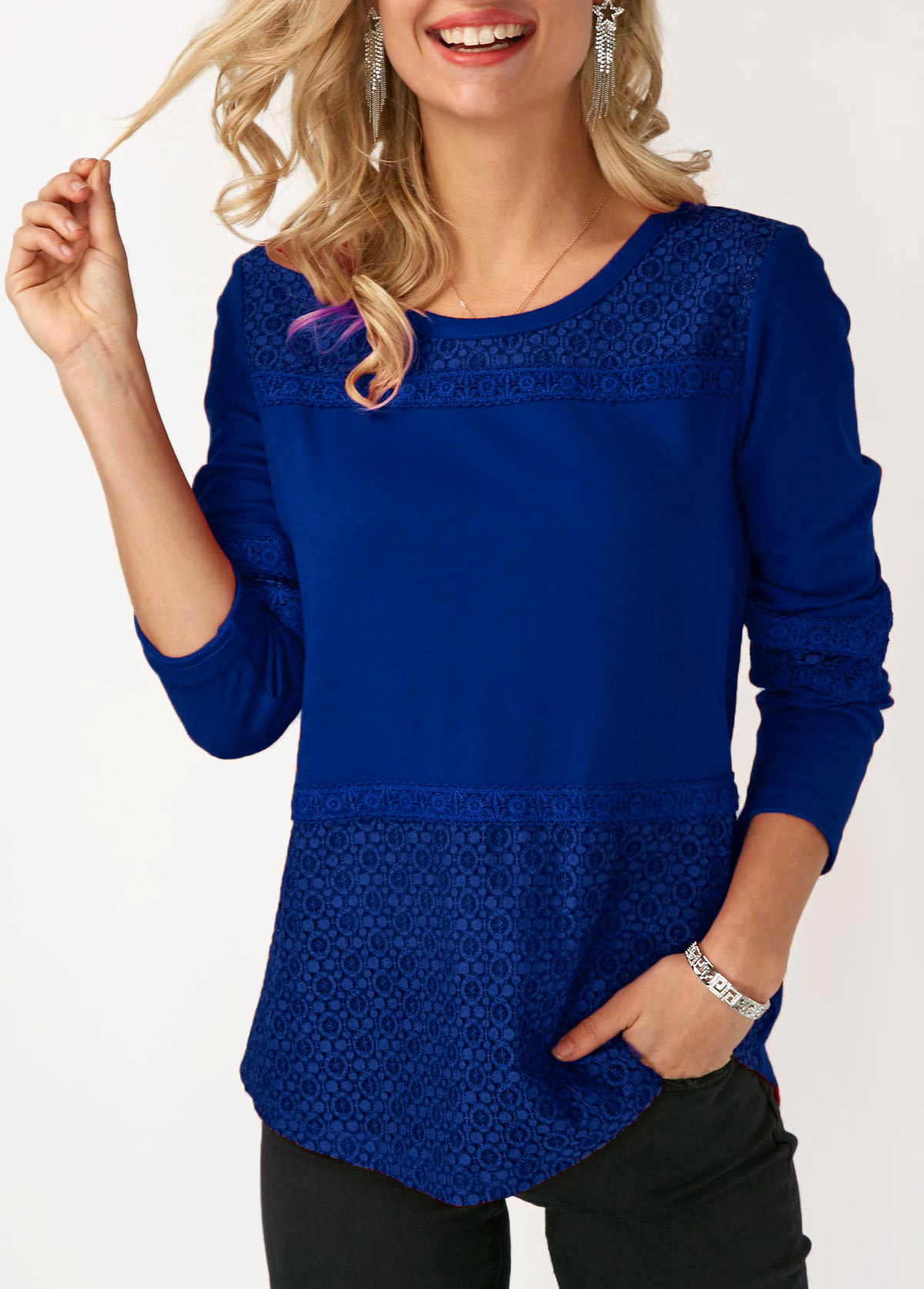 ROTITA Round Neck Long Sleeve Lace Panel T Shirt