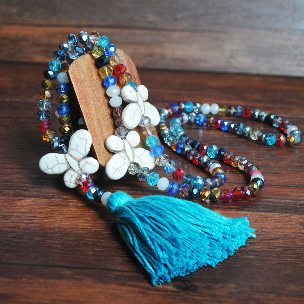 Blue Tassel Butterfly Design Bead Necklace
