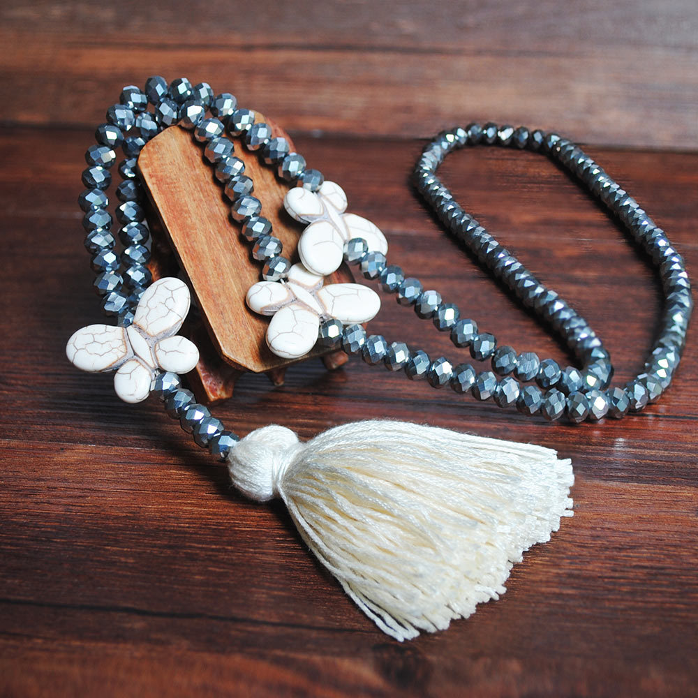 White Tassel Butterfly Design Bead Necklace
