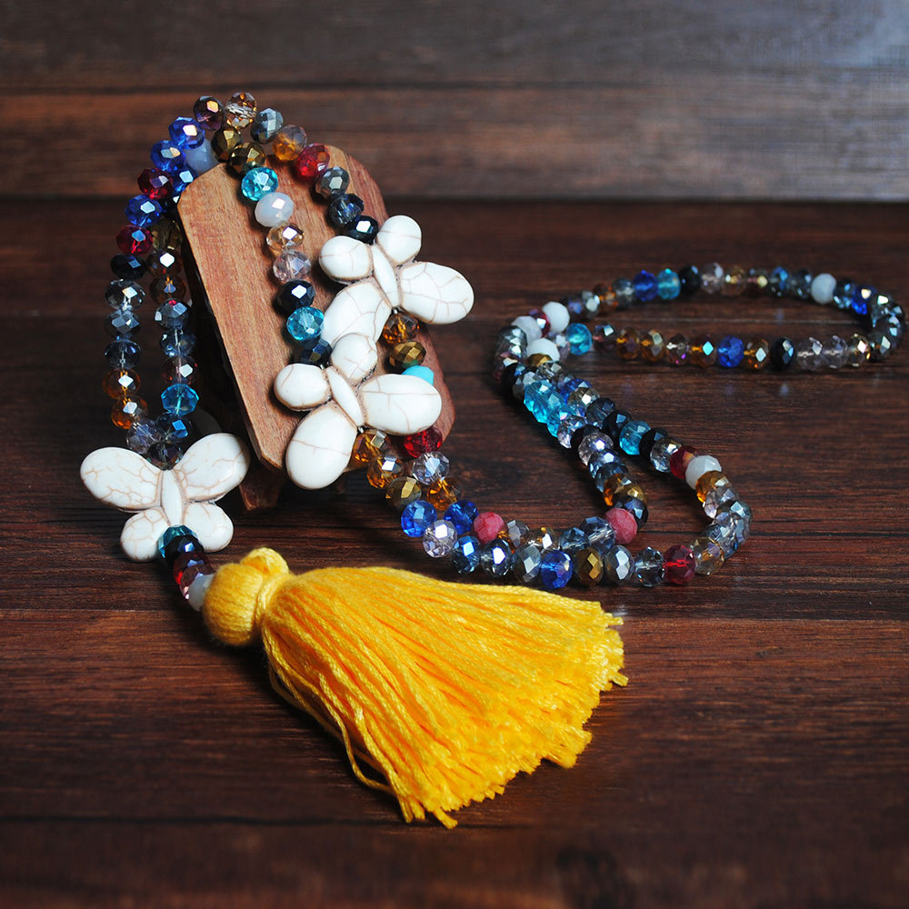 Bead Butterfly Design Yellow Tassel Necklace