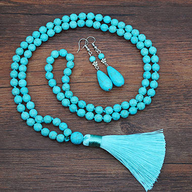 Turquoise Tassel Detail Necklace and Earring Set