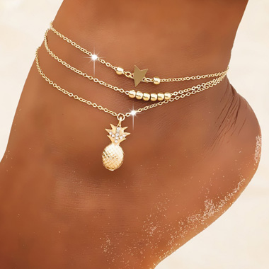 Pineapple and Star Gold Anklet Set