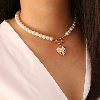 Heart Pendant Silver Pearl Detail Necklace