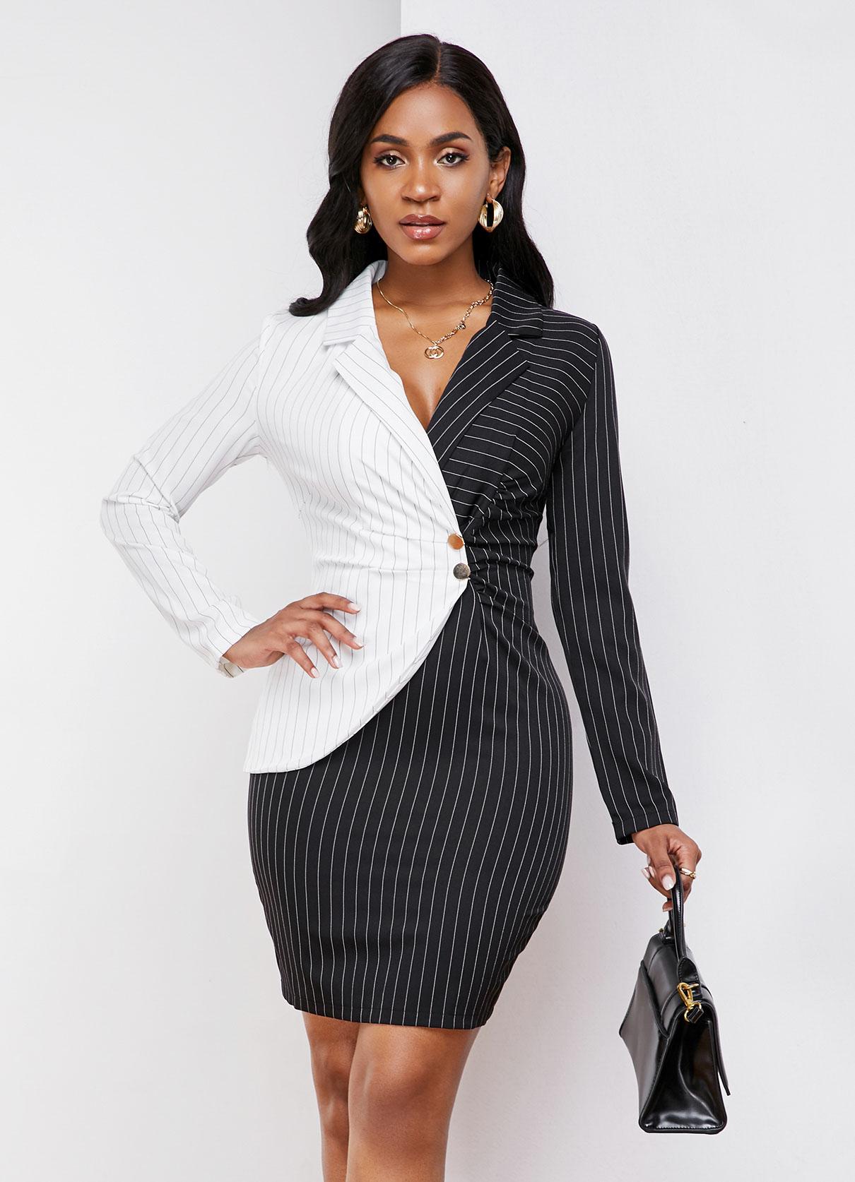 Color Block Turndown Collar Striped Dress
