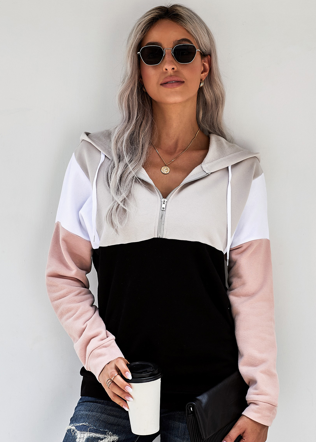 Color Block Zipper Closure Drawstring Hoodie