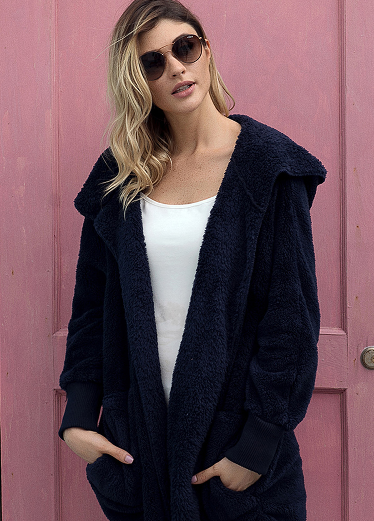 Hooded Collar Open Front Long Sleeve Jacket