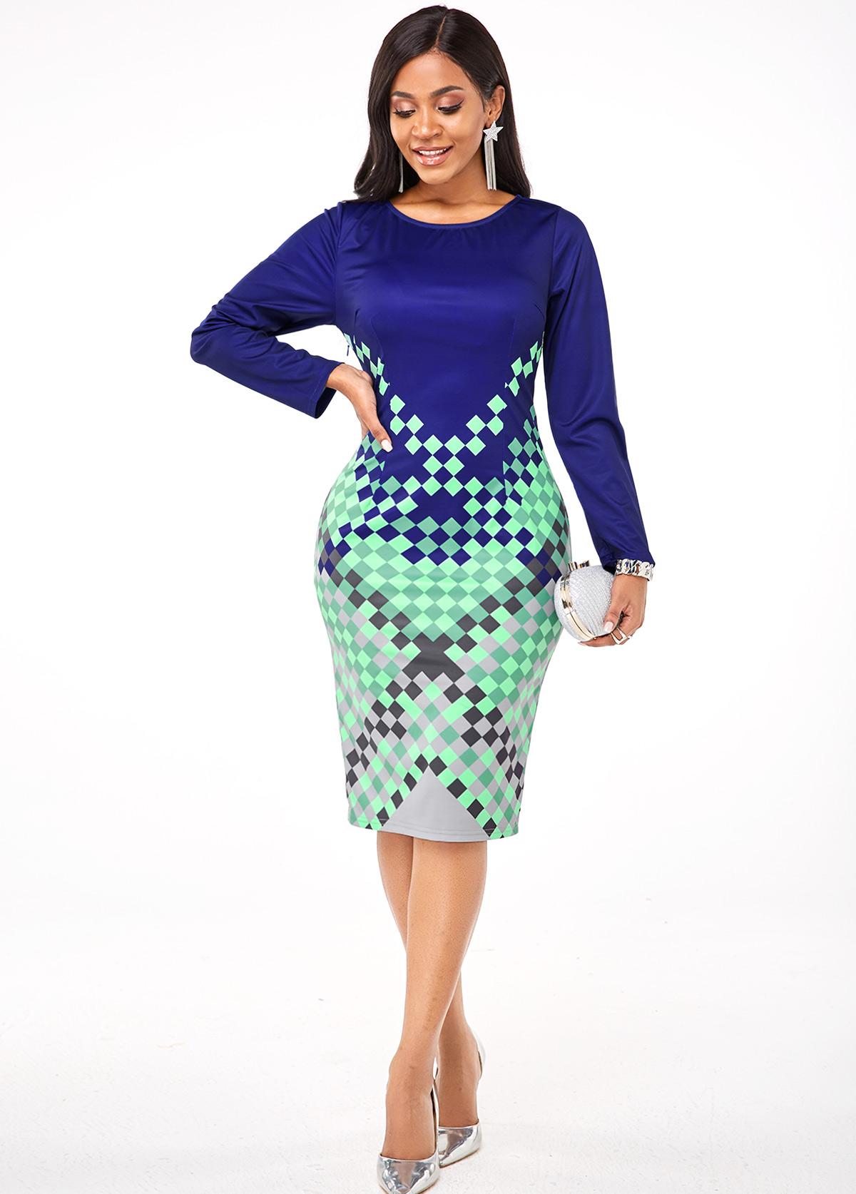 ROTITA Geometric Print Long Sleeve Round Neck Dress