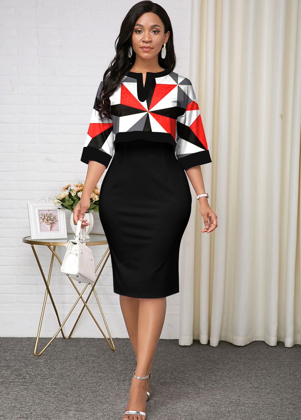 ROTITA Geometric Print Top and Black Bodycon Dress