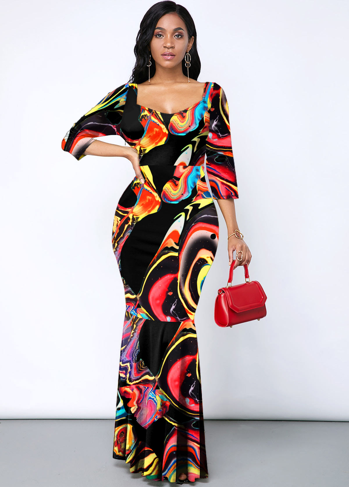 ROTITA Rainbow Color Printed Mermaid Hem Maxi Dress