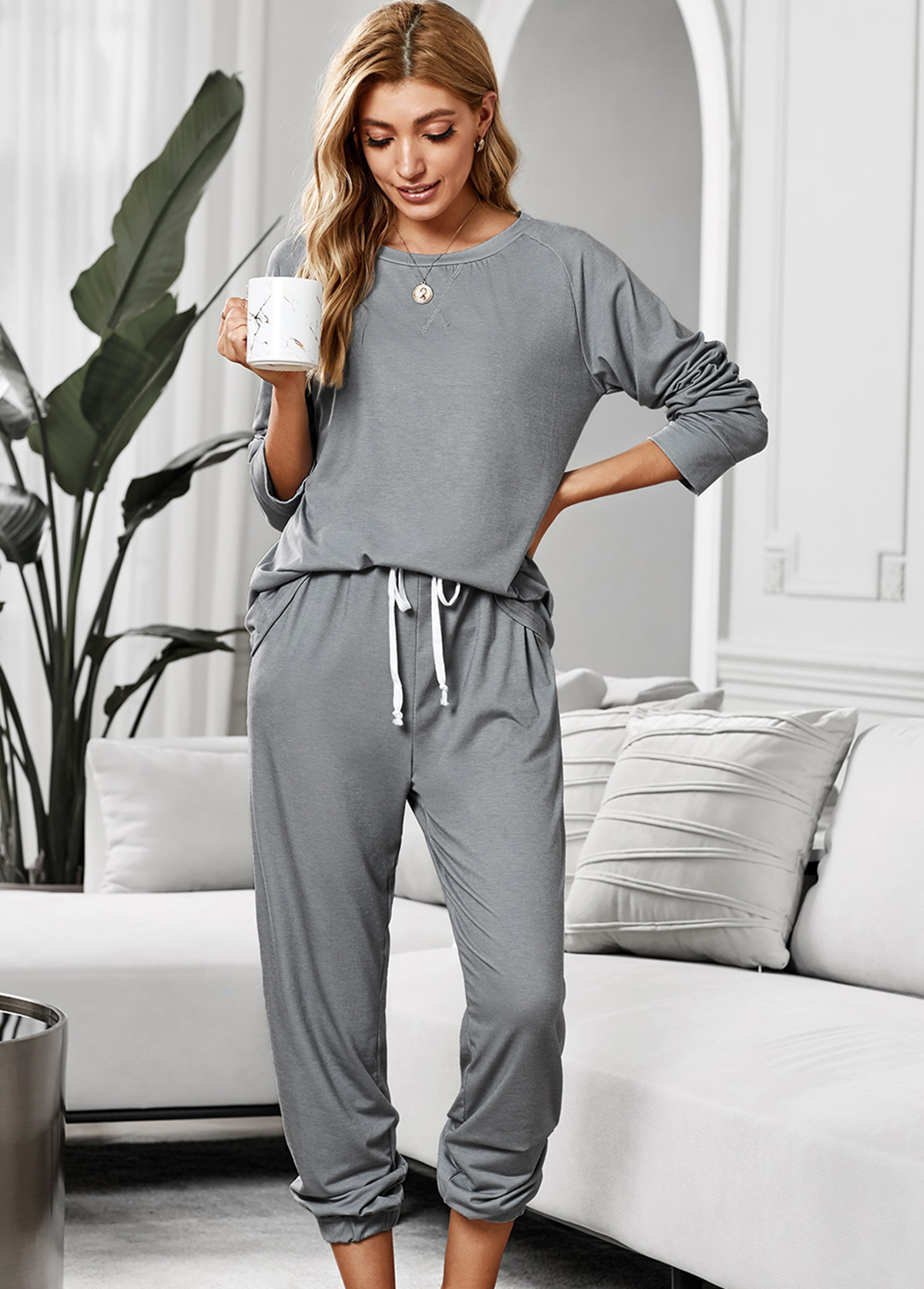 Drawstring Waist Long Sleeve Loungewear Set