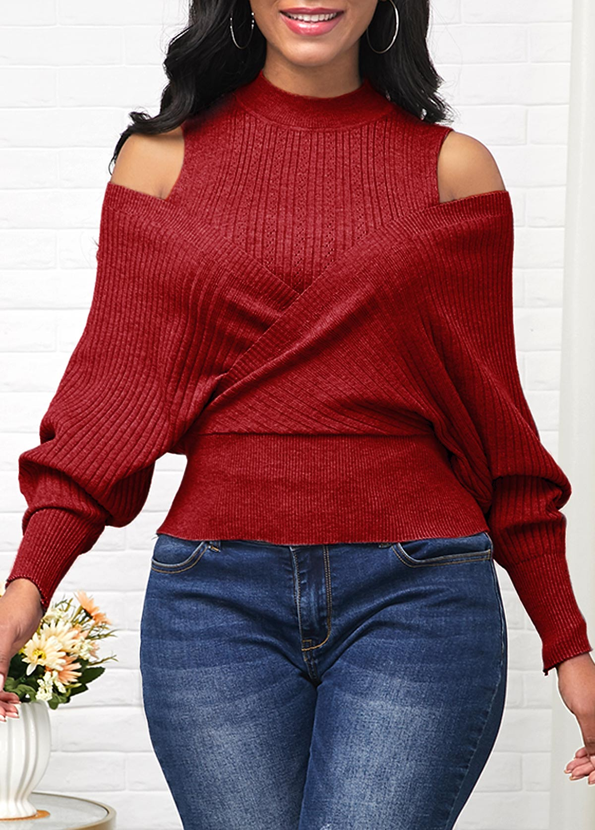 Wine Red Long Sleeve Cold Shoulder Sweater