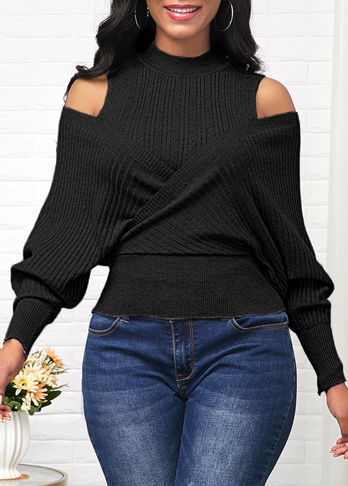 Black Cold Shoulder Long Sleeve Sweater