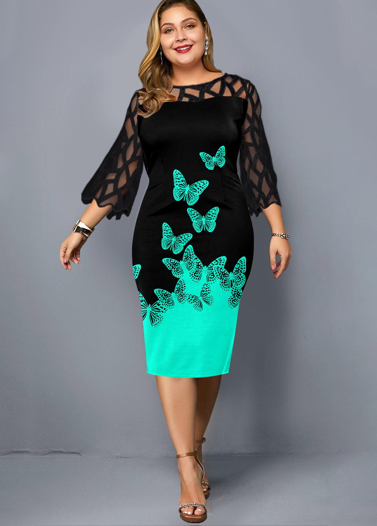 ROTITA Plus Size Lace Panel Butterfly Print Dress