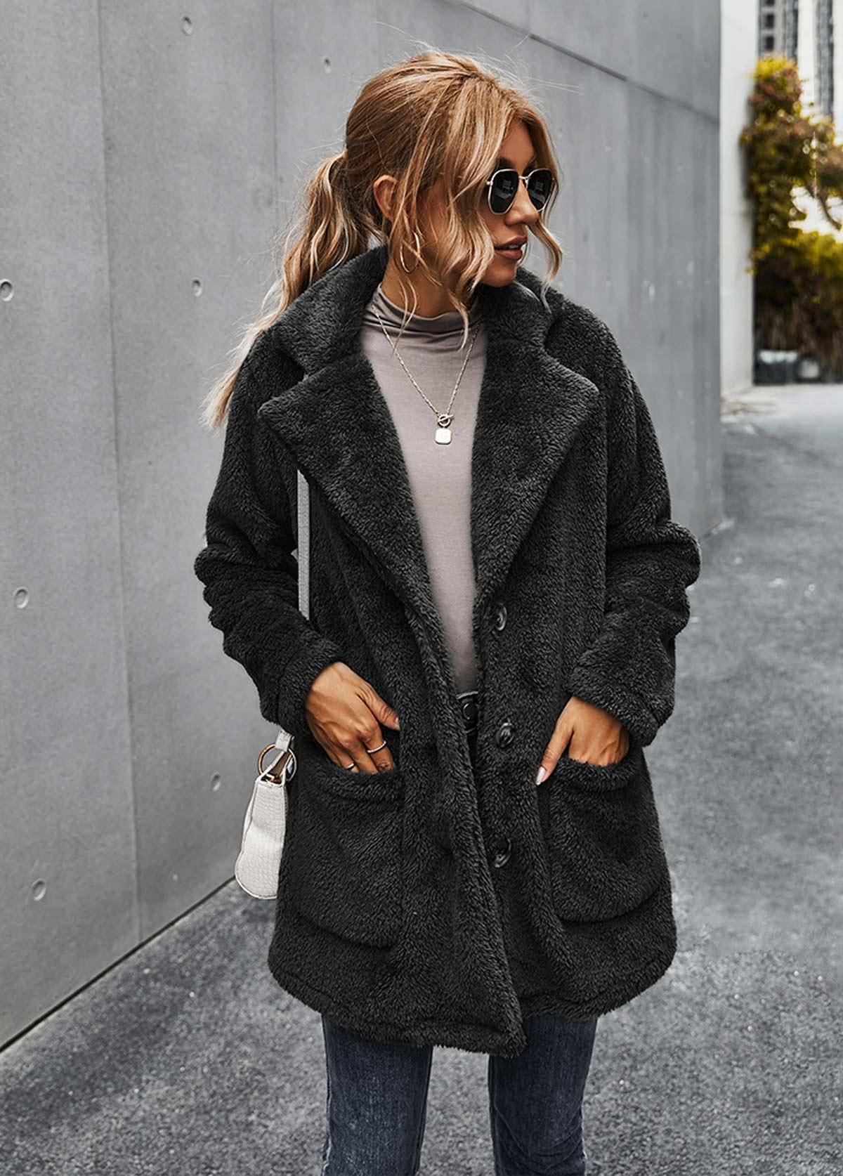 Pocket Turndown Collar Button Up Fluffy Coat