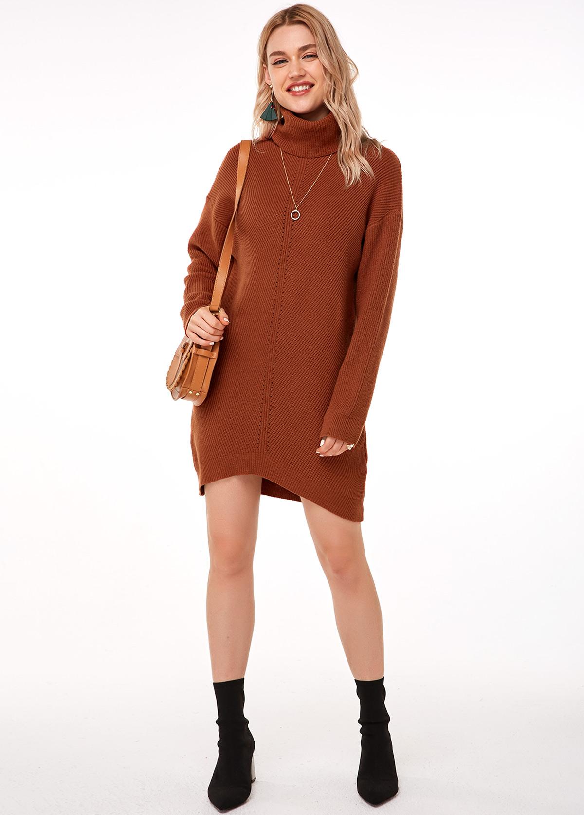 Long Sleeve Brick Red Turtleneck Sweater Dress