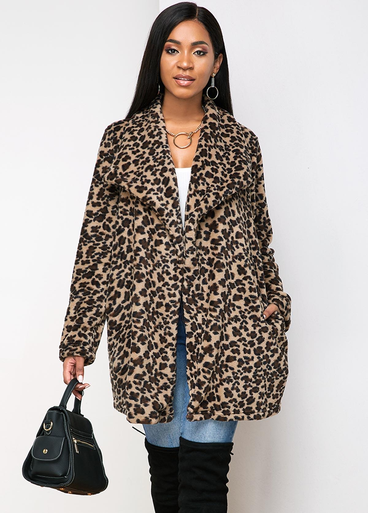 Leopard Turndown Collar Open Front Pocket Coat