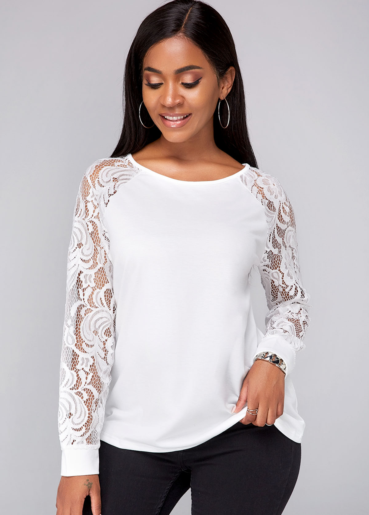 Lace Panel Long Sleeve Round Neck Sweatshirt
