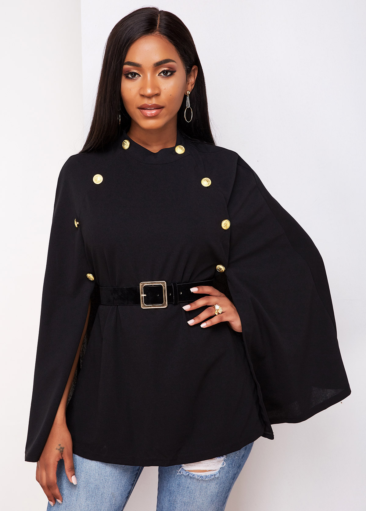 Cape Sleeve Button Detail Buckle Belted Trench Coat
