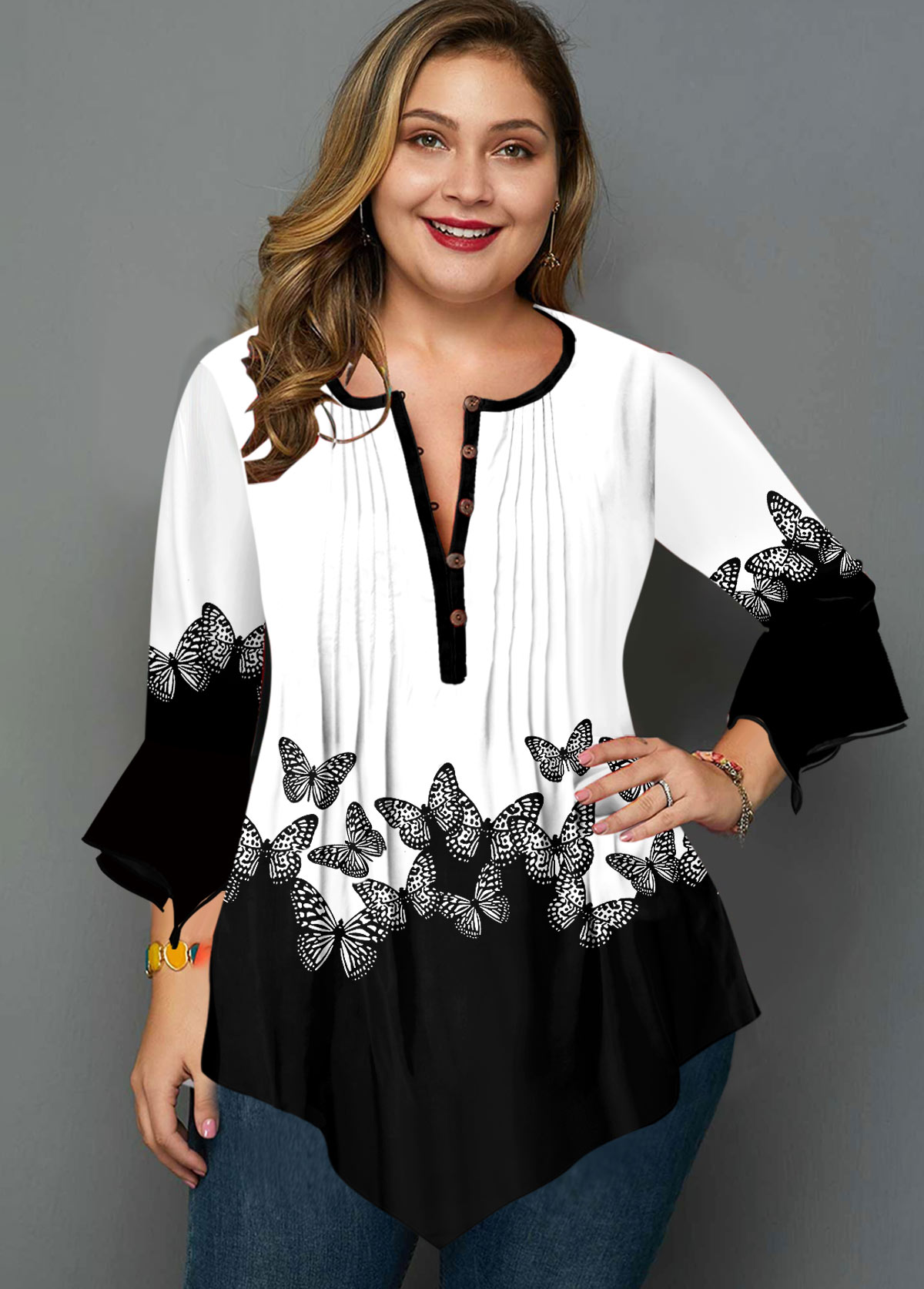 ROTITA Plus Size Butterfly Print Hanky Cuff Blouse