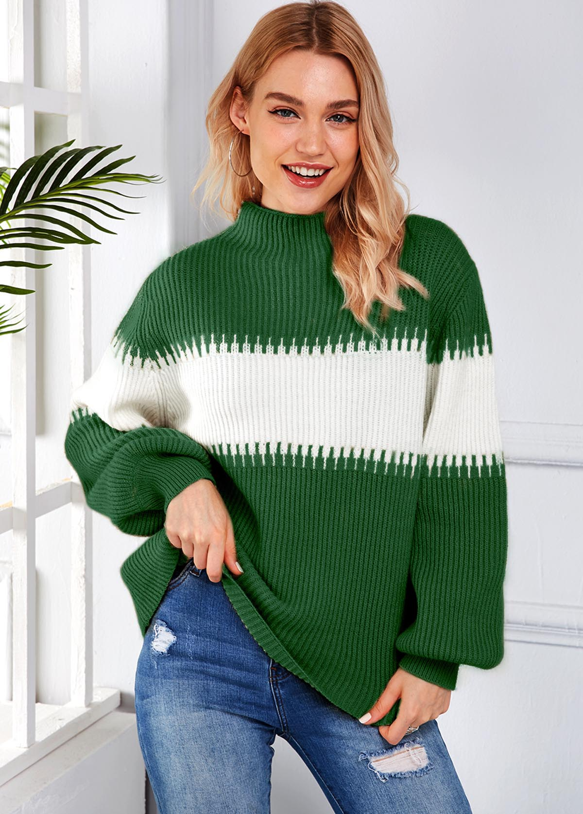 Long Sleeve Contrast Mock Neck Sweater