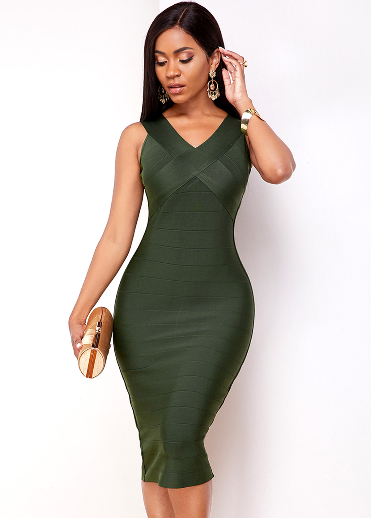 Army Green Sleeveless V Neck Bodycon Dress