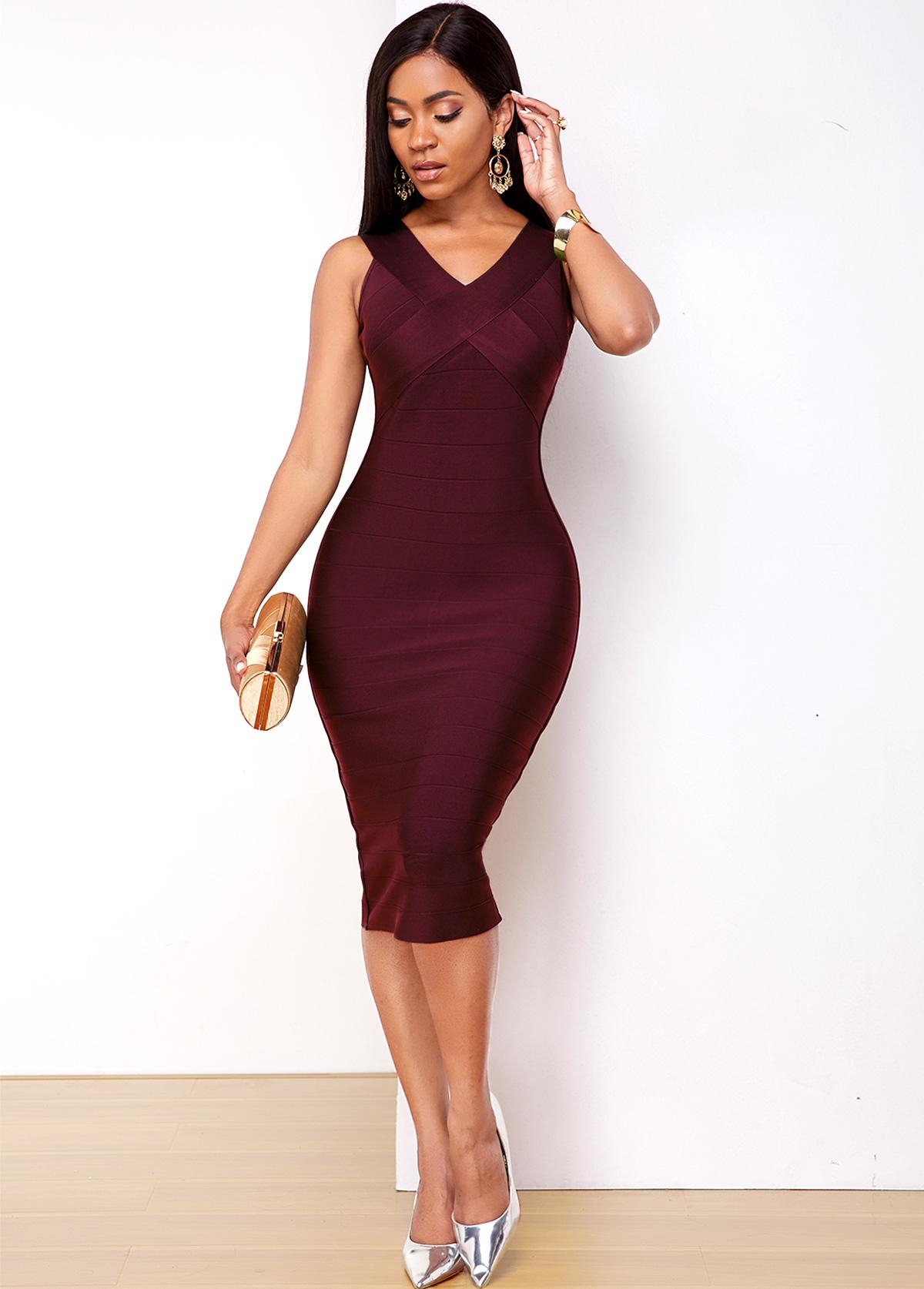 Sleeveless Purple Red V Neck Bodycon Dress