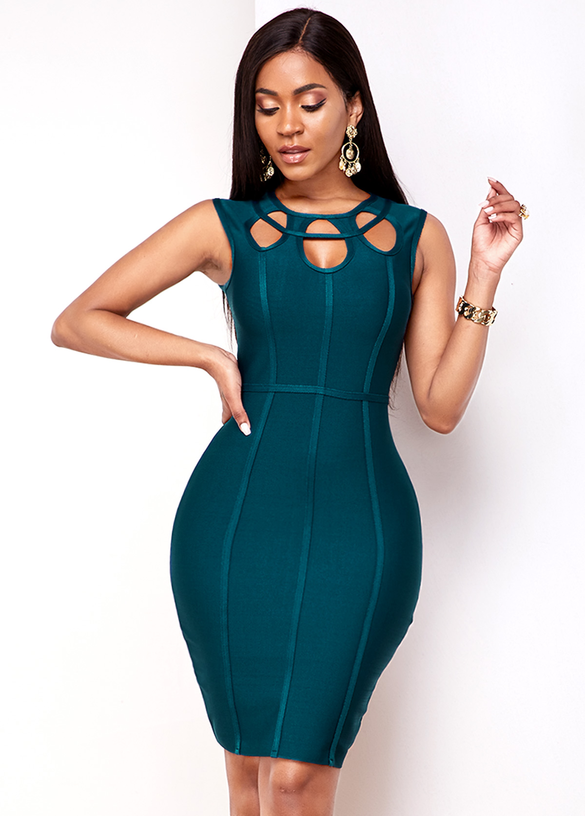 Keyhole Front Peacock Blue Bodycon Dress
