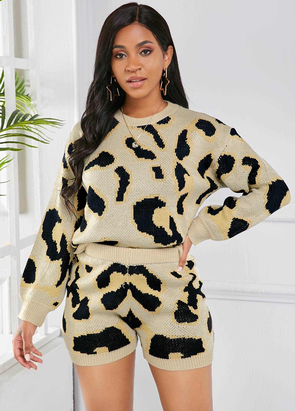 Leopard Shorts and Long Sleeve Sweater