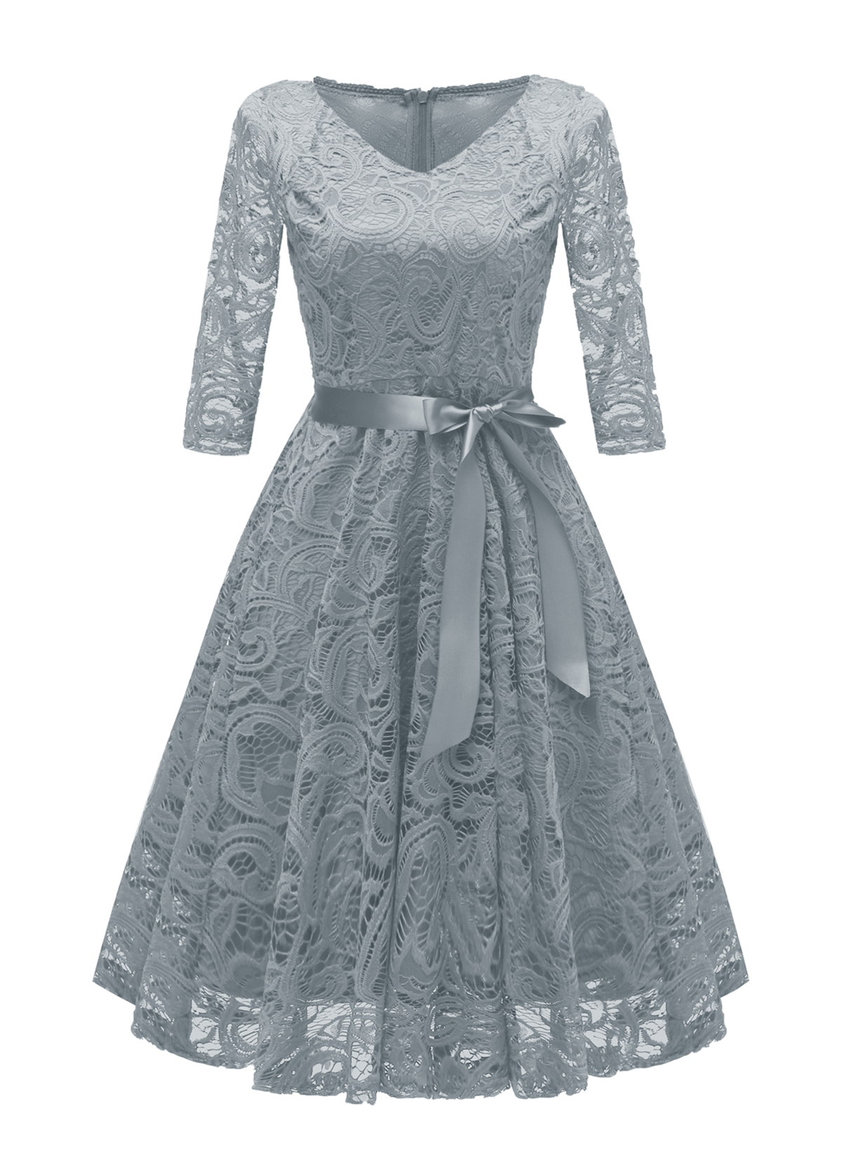 Belted Lace Three Quarter Sleeve Dress