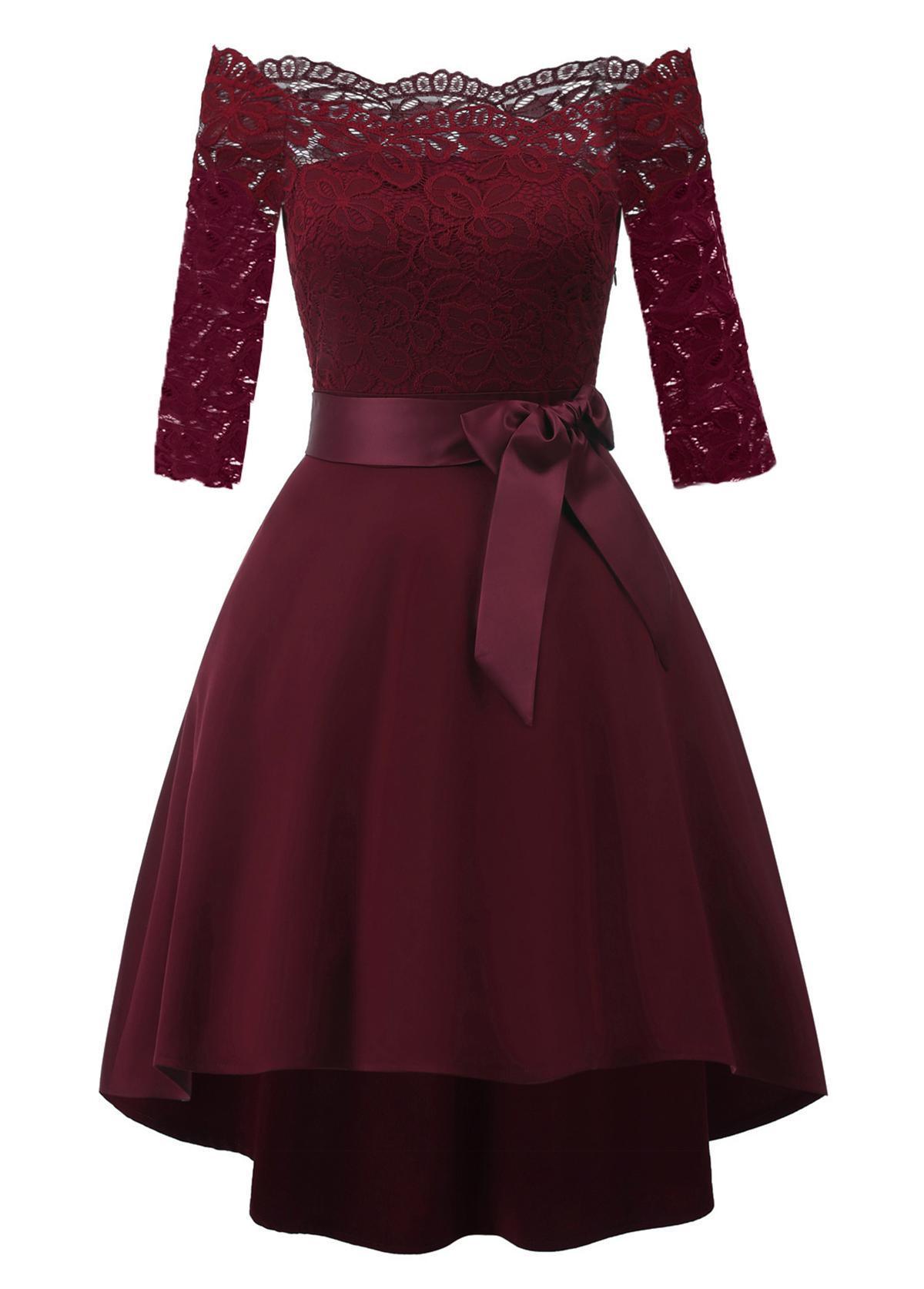Belted Off Shoulder Lace Panel Dress